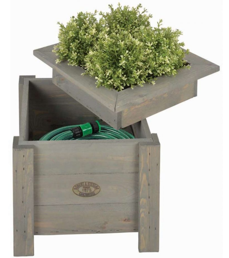 Stained wooden box hose concealer with lid planter.