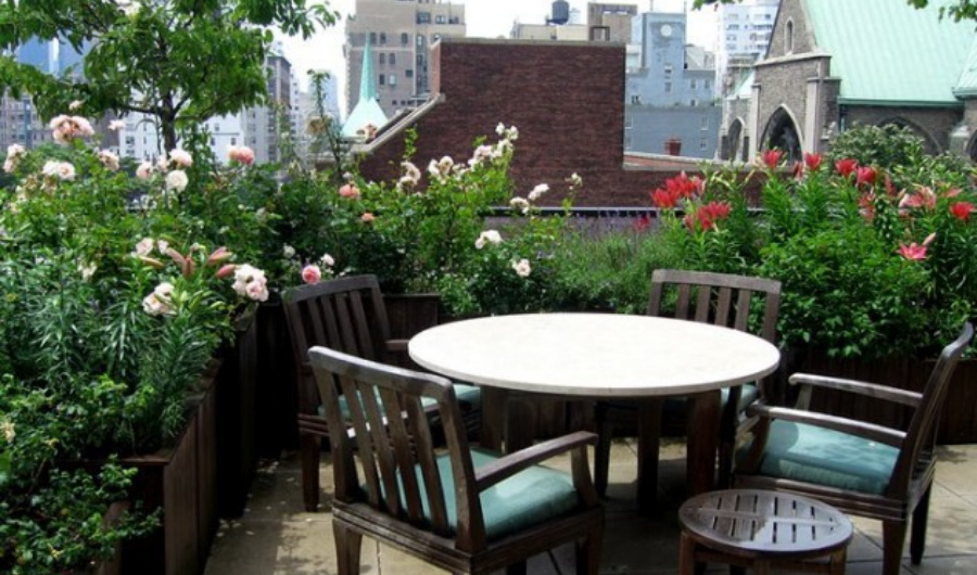 This roof garden features wooden dining furniture and full of blooming roses in various shades.