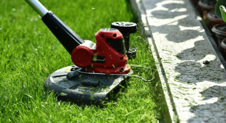 Cordless weed trimmer used to trim grasses on sidewalks.