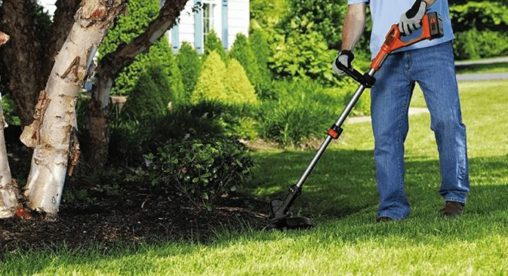 A gentleman's trimming his yard using the cordless weed trimmer.