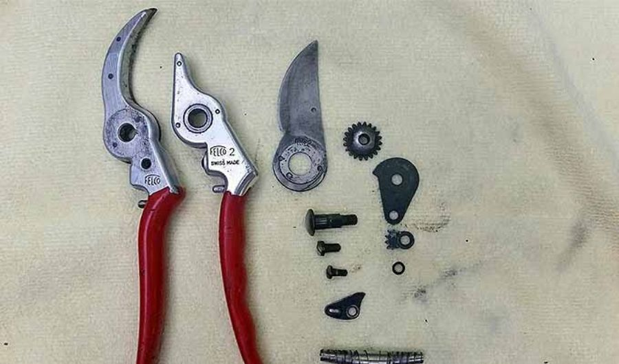 Dismantled parts of bypass pruner.