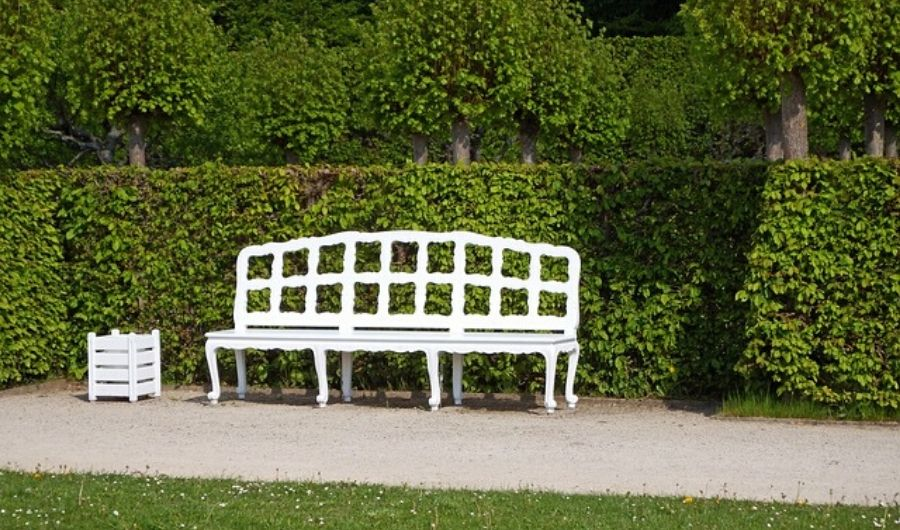 Wooden planter and a bench painted in white located on the roadside, with a lush hedge backdrop.