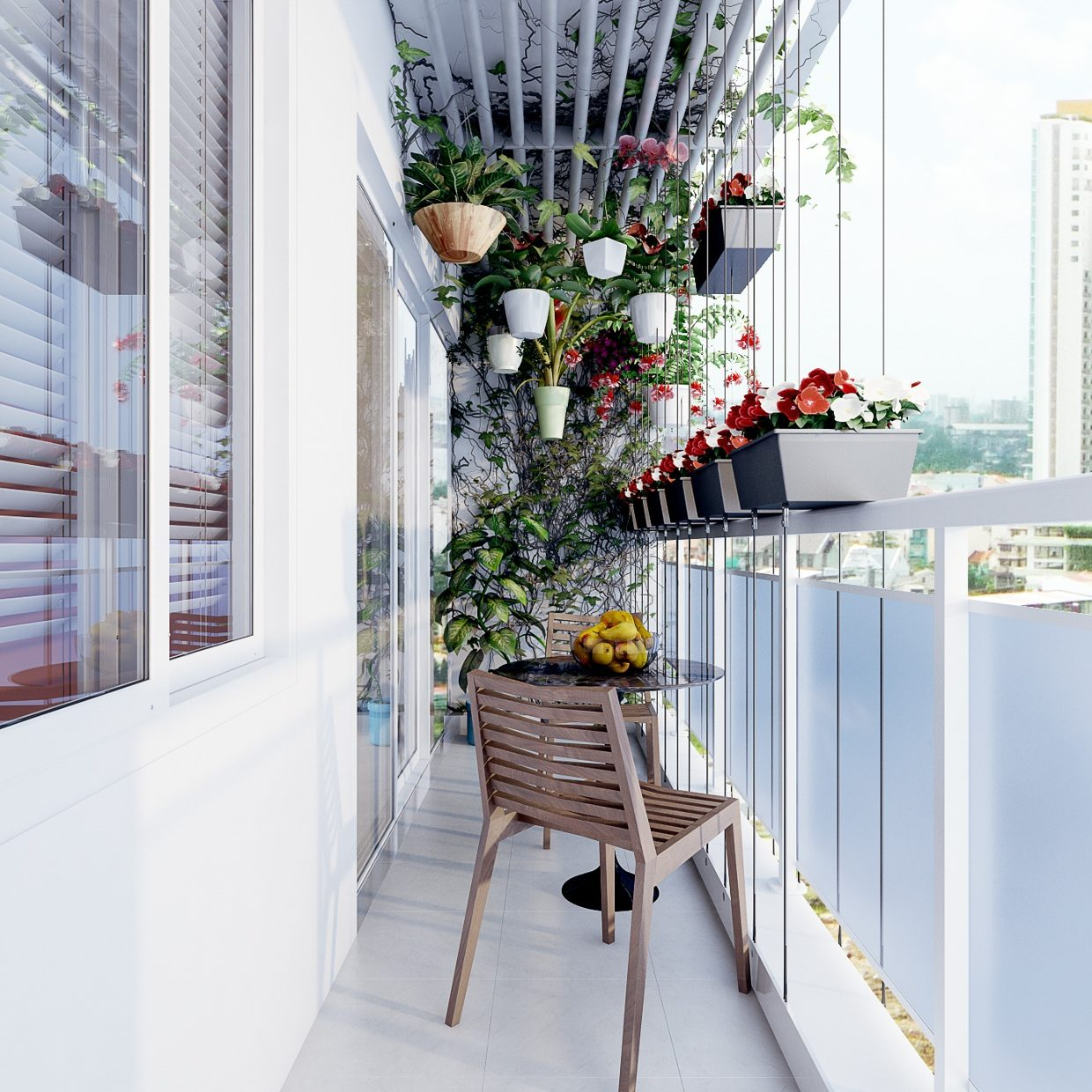 A coffee table, hanging plants up in the ceiling, and planters in the railings all arranged beautifully in a small balcony deck.