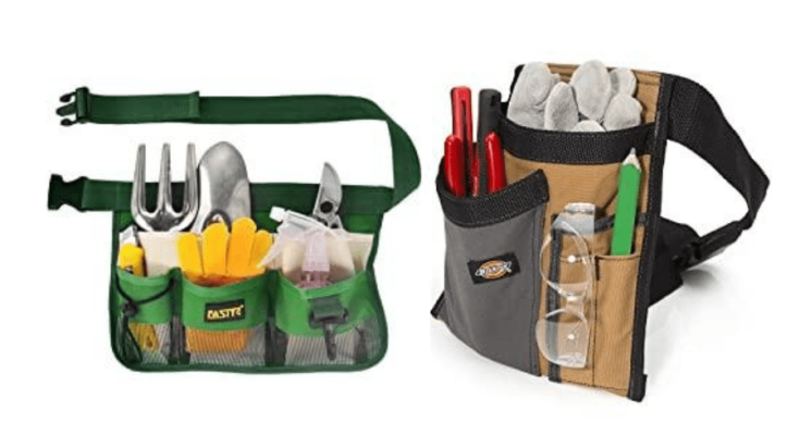 The FASITE YL003F 7-POCKET Gardening Tools Belt Bag and Dickies 5-Pocket Single Side Tool Belt both filled with garden tools.