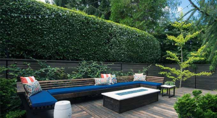 Tall hedges serve as a border backdrop to a sophisticated wooden view deck.