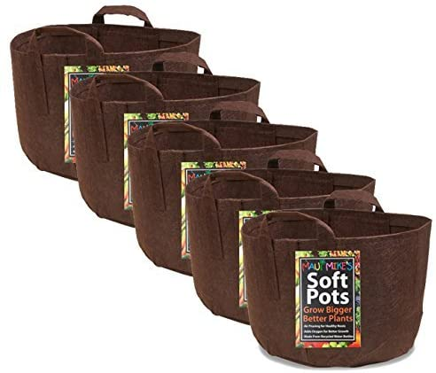 Set of 5 brown breathable grow bags.