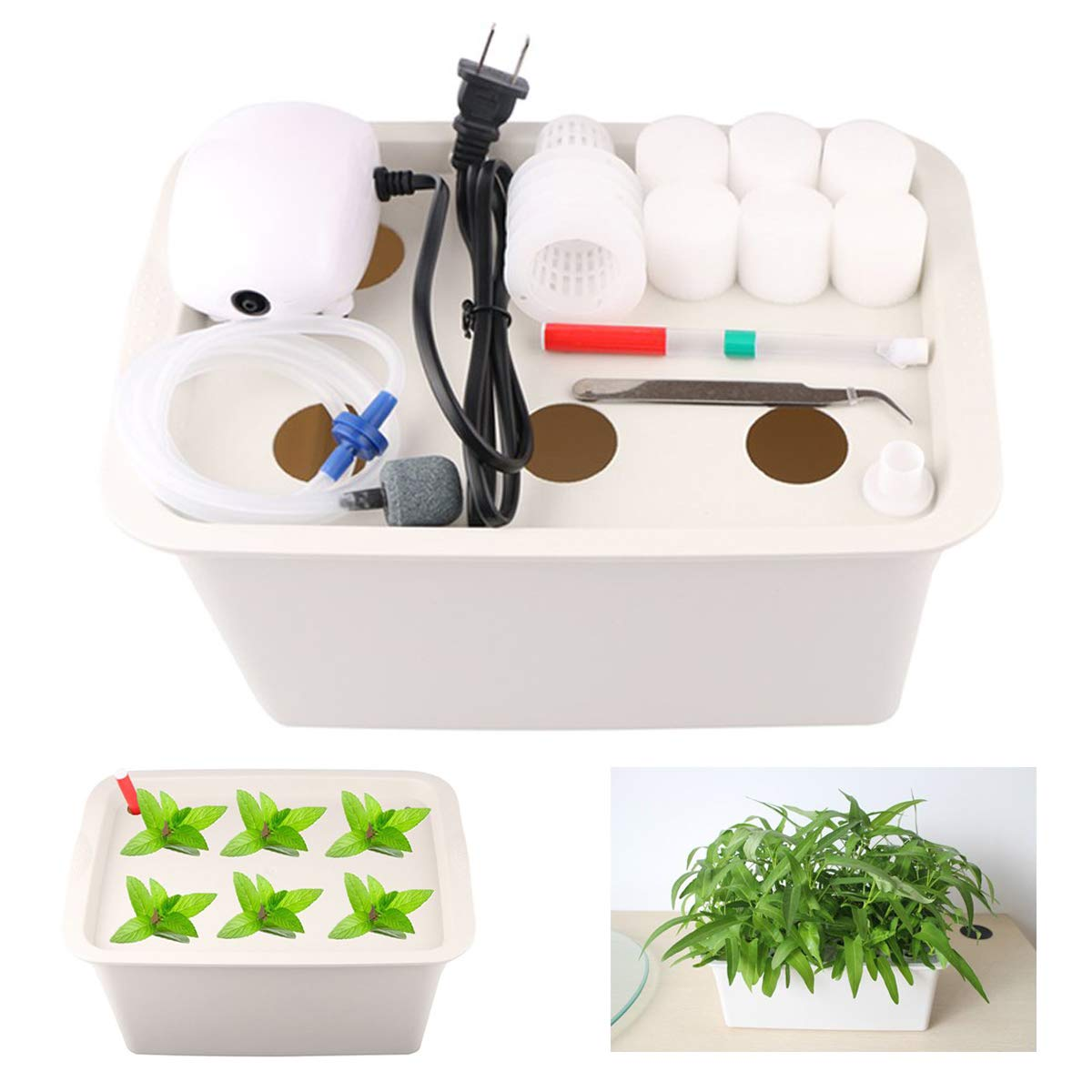 Aunifun Indoor Hydroponics Grower Kit with DIY Self Watering System