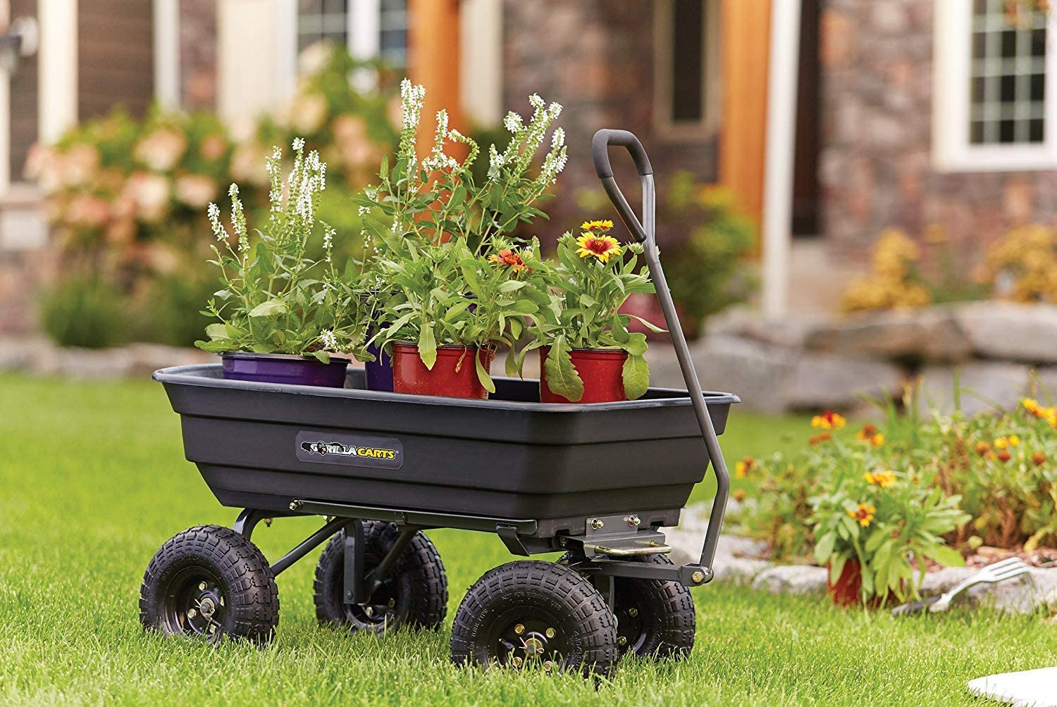 4-wheeled Poly Garden Dump Cart