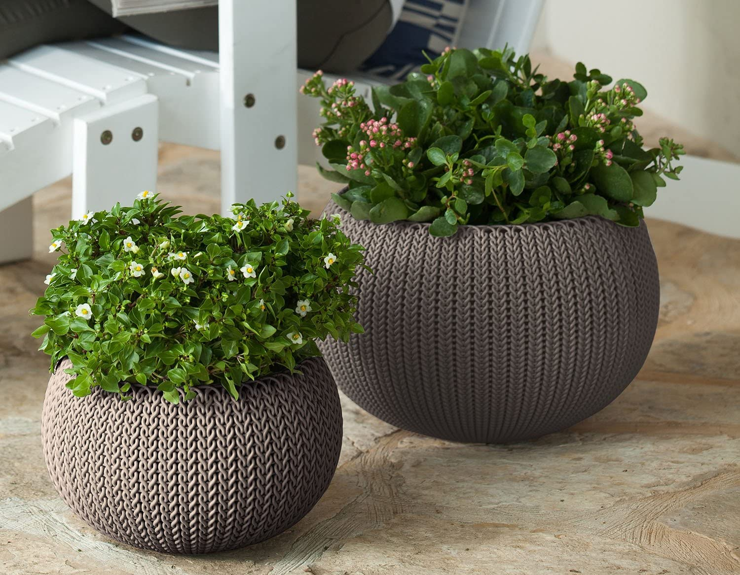 2 Cozies Braid-inspired Knit Design Planters