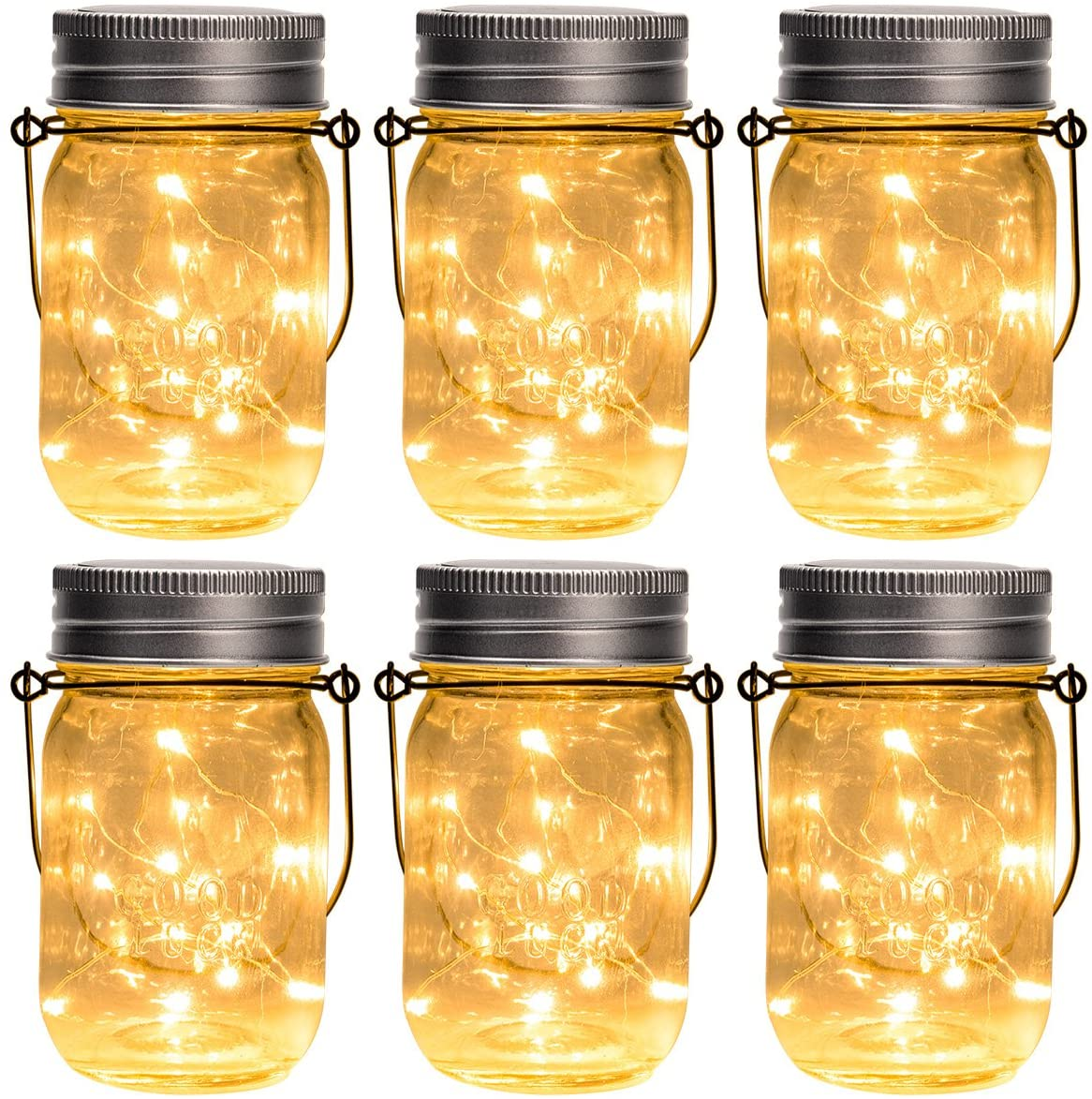 Set of 6 solar-powered hanging mason jars