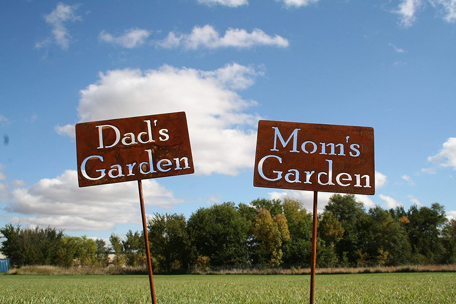 Rustic garden stakes with Mom's and Dad's garden signs