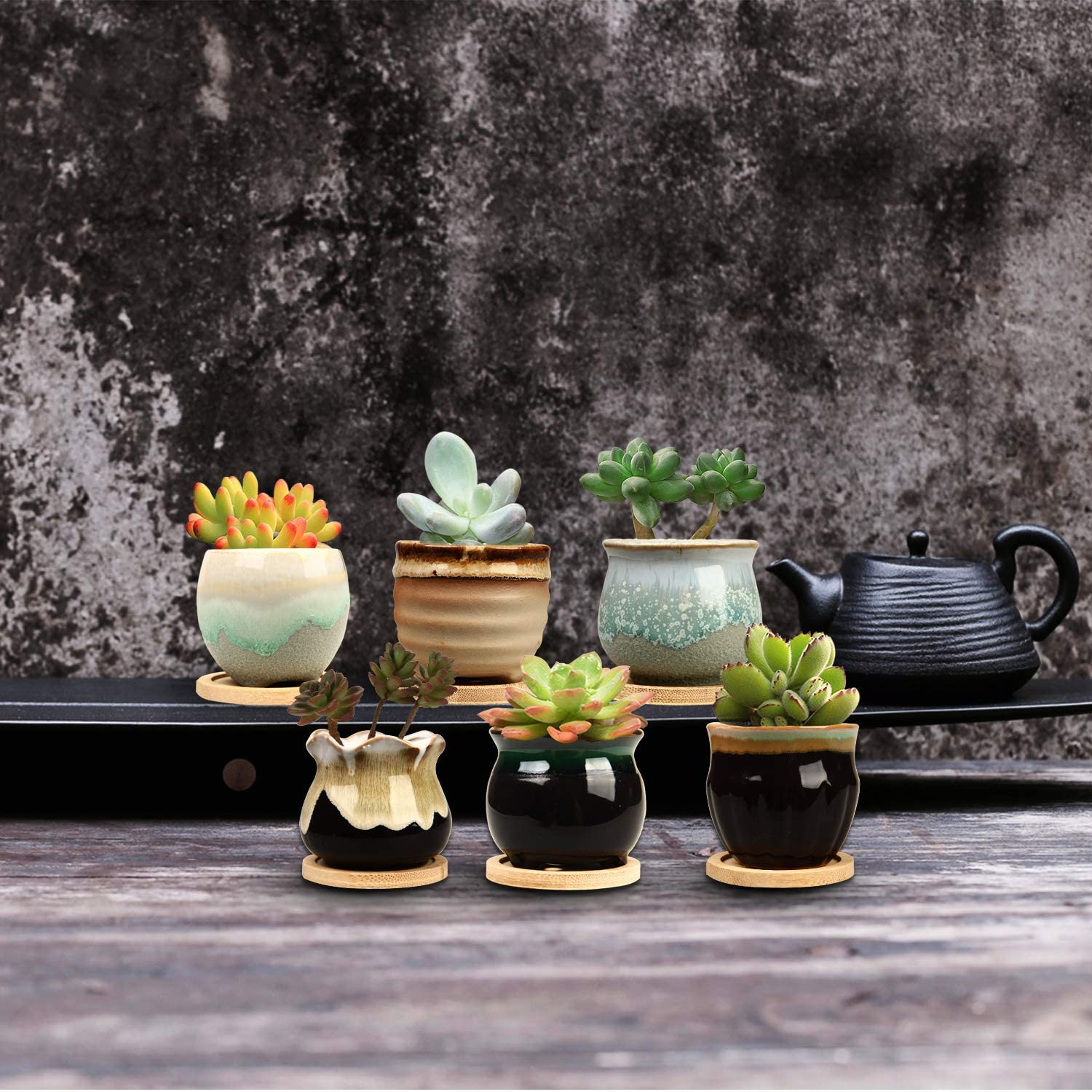 Mini ceramic planters with bamboo tray