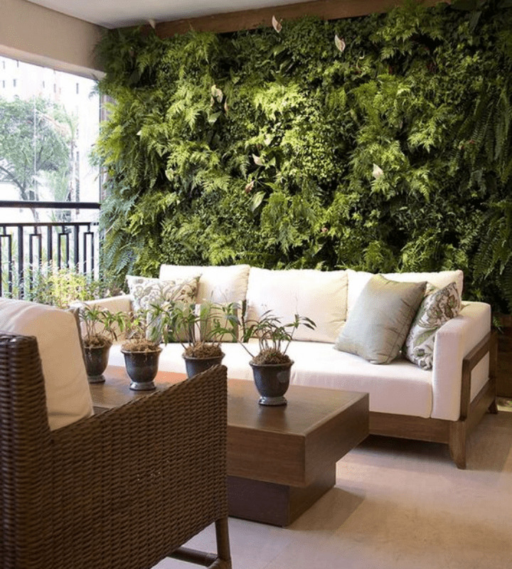 Lush vertical garden in the wall balcony