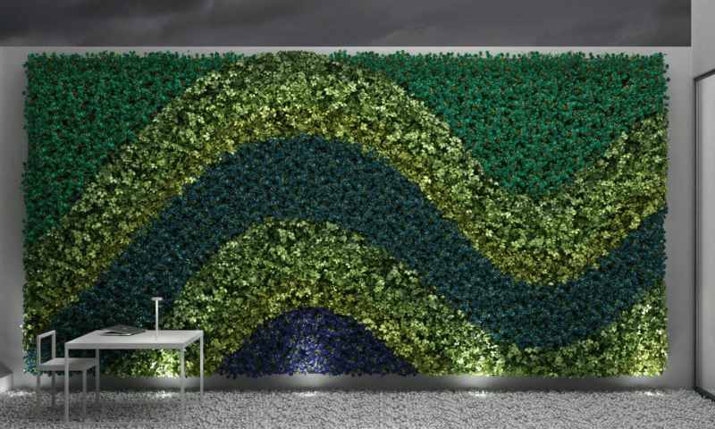 Wave-inspired artwork designs of a green wall
