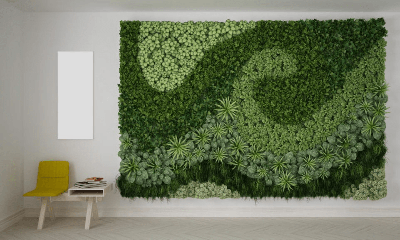 Green wall with fabulous artwork