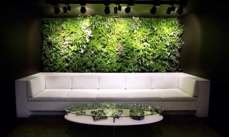 An illuminated green wall and a plain white couch modern design combo