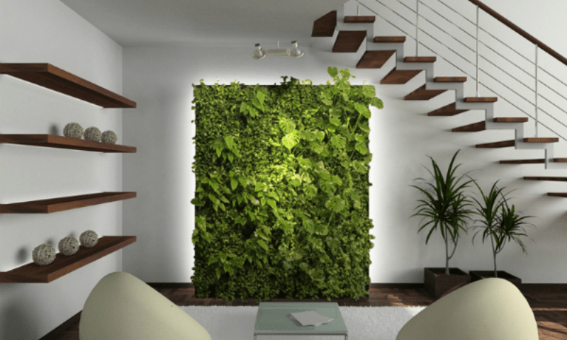 Vertical living wall garden underneath the stairs