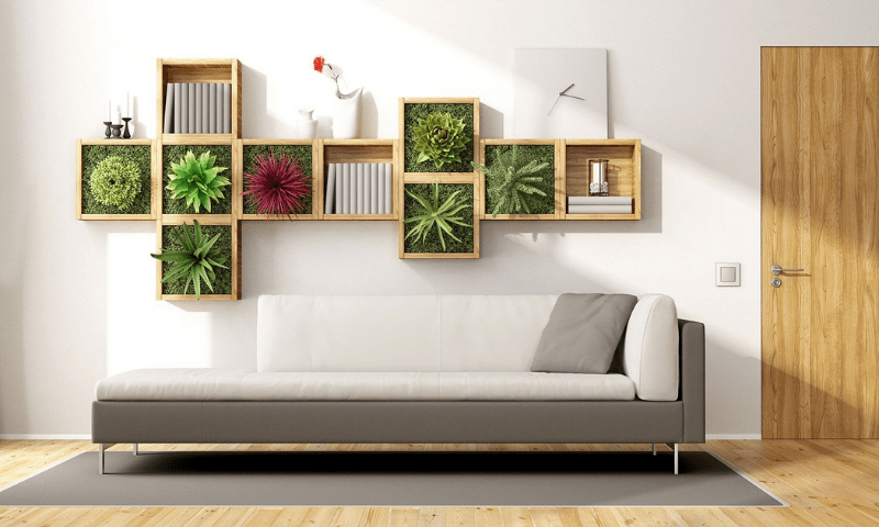 A couch and a throw pillow below boxed succulents on the wall