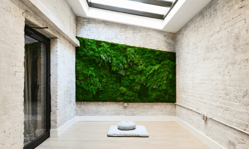 Vertical living garden with moss artwork