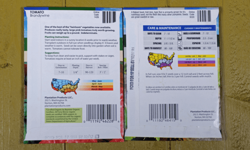 Detailed instructions on the back of the seed packet.