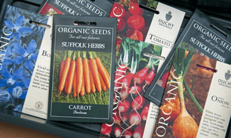 Packets of organic seeds