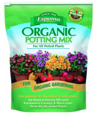 A clear image of the Espoma Organic Potting Mix packaging.