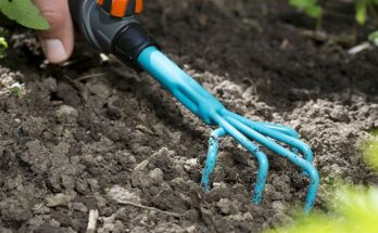 A blue Hand Weeder being used to loosen soil.